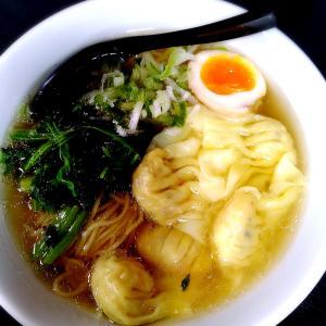 海老ワンタン麺とハムカツ定食(^^)/