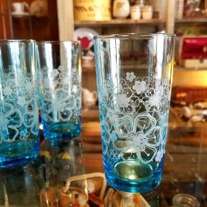 ADERIA/アデリア 花柄グラス(タンブラー)ブルー ※当時物