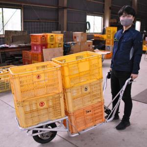 ミカン楽々運べて農家が笑顔 一輪車の電動化キット開発。
