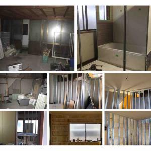 物件8号の脱衣所、廊下、部屋の床壁天井ができた