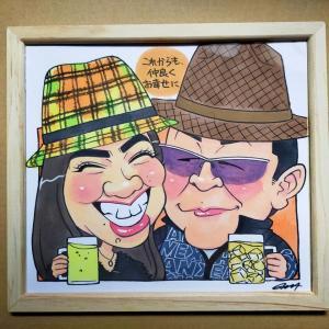 【オンライン注文制作】プレゼント用として夫婦の似顔絵を制作しました