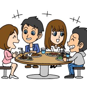 会食をしている男女のイラスト