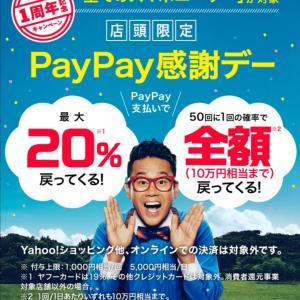 【PayPay】10月5日は久しぶりに20%キャンペーンがやってきますよ