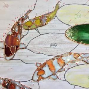 5匹の鯉のガラスカット