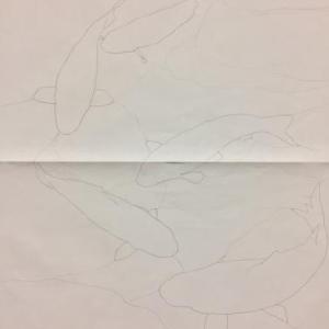 パネル「錦鯉」の構図
