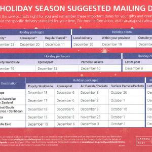 カナダから2019年のクリスマスカードと、プレゼント発送目安のご案内です。