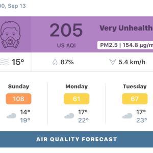アメリカの山火事による影響の大気汚染注意報がバンクーバーに出ています。