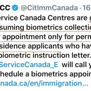 ●  カナダ国内でバイオメトリクスが、順次再開します。