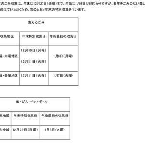 年末年始のごみ収集日のお知らせ2019 ~ 神戸市