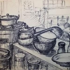 セピア色の画集;フェルトペン画;60年前の自炊生活(1)