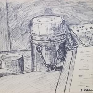 セピア色の画集;フェルトペン画;60年前の自炊生活(3);床勉