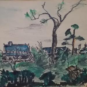 セピア色の画集(第5話);フェルトペン画;寝屋川市秦の集落
