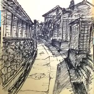 セピア色の画集(第6話);フェルトペン画;寝屋川市秦の坂道