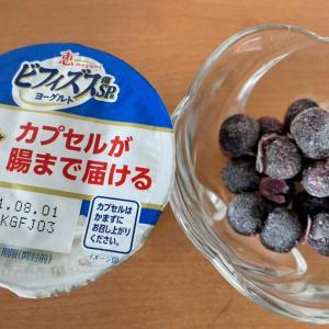 ビフィズスヨーグルトに冷凍ブルーベリー