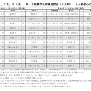 対戦表 U-9那覇市合同練習試合(7人制)in新都心公園 12/6