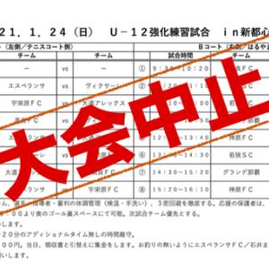 大会中止 U-12強化練習試合in新都心公園
