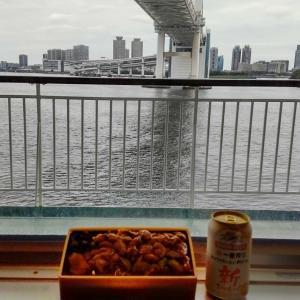 深川めしとビールとレインボーブリッジ