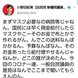 【マスク2枚】自民・小野田紀美議員ブチギレ「こんな話一度でも党内の会議で出た?他の訴えは無視してこういう事だけ急に決める」