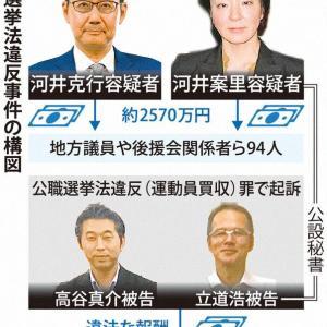 【公選法違反】河井前法相と妻、前例なき「金権選挙」 半年で94人2570万円、なりふり構わず 毎日新聞