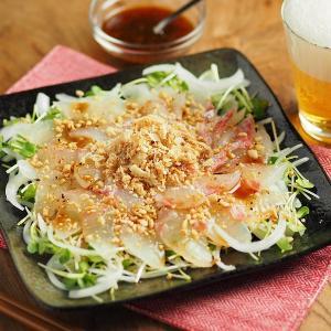 桜鯛と新玉ねぎの中華風海鮮サラダ、レシピブログ