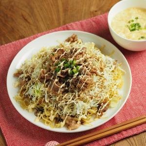 電子レンジで簡単卵スープ&マイナビ、キャベセンソースマヨ焼きそば