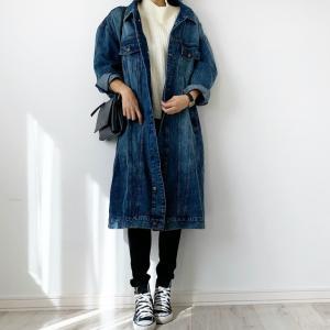 【クッチョコ】今風なロングデニムジャケット♡