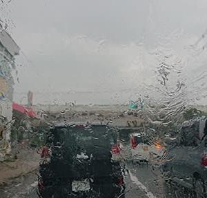 大雨のなか