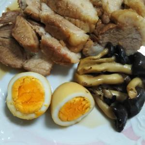 煮豚とワラビご飯