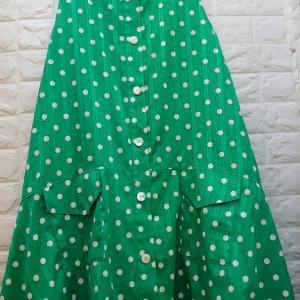 【内職オーダー品】グリーン水玉のワンピース♡