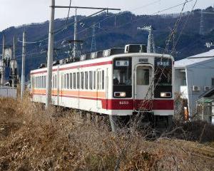 ススキごしに見た東武電車