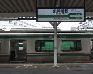 今日13時頃の会津若松駅 E721系・GV-E400系・キハE120系