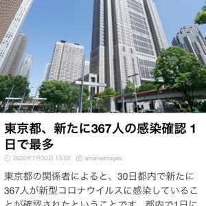 東京都 新たに367人感染確認 新型コロナ(200730)