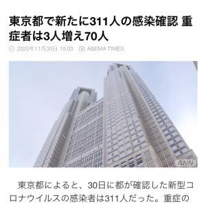 東京都 新たに311人の感染確認 新型コロナ(201130)