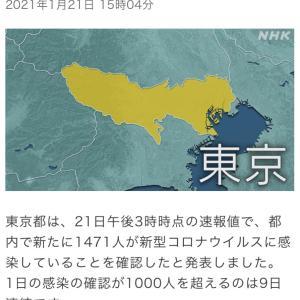 東京都 新たに1471人の感染確認 新型コロナ(210121)