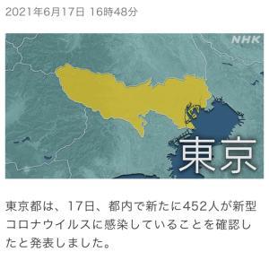 東京都 新たに452人の感染確認 新型コロナ(210617)