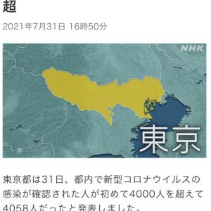 東京都 新たに4058人感染確認  新型コロナ(210731)