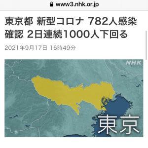 東京都 新たに782人感染確認  新型コロナ(210917)
