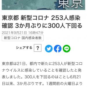 東京都 新たに253人の感染確認 新型コロナ(210921)