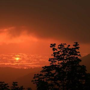 真昼岳・峰越林道からの夕景
