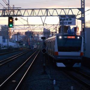 JR高円寺駅より夕焼けを臨む