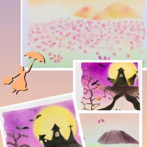 ●パステルアートの秋 ハロウィーン・秋山とコスモスin横浜みなとみらい桜木町サロン