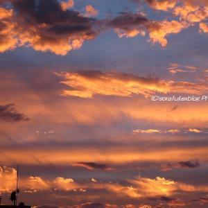 夕景と光の筋