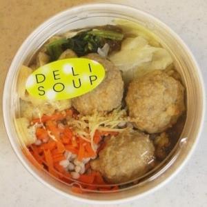 鶏団子ともち麦の生姜スープ♪