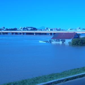 台風後の荒川