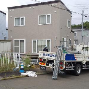 カバーサッシ工事  足場組立ました  札幌南区中ノ沢5丁目7  S 邸