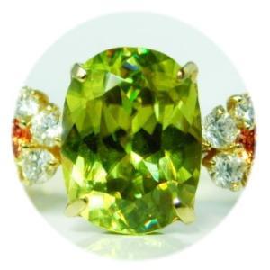 K18YGグリーンスフェーンダイヤモンドリング