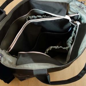 仕切り付き・ファスナーふた付きでマザーズバッグにもなるトートバッグLサイズです。