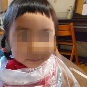 3歳児・今しかできないクレラップパッツンカットです。