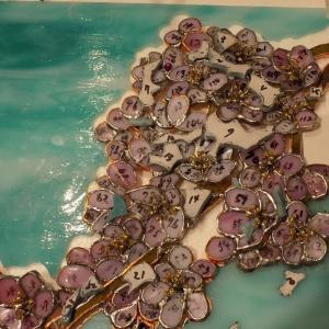 満開の桜。花芯にビーズを使って立体的に西村様が挑戦されました。遅めの満開です!