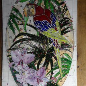鸚鵡のパネル、カット削り終了。お嬢様の為のステンドグラスパネルです。